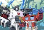 2boys absurdres autobot blue_eyes clenched_hand decepticon hands_on_hips highres holding holding_tablet_pc lantana0_0 looking_down mecha mechanical_wings megatron megatron_(shattered_glass) multiple_boys no_humans open_mouth optimus_prime pointing shoulder_cannon tablet_pc transformers transformers_shattered_glass wings