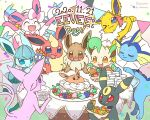 >_o :3 :d :q ^_^ artist_name berry_(pokemon) birthday_cake birthday_party blue_eyes blush bottle box brown_eyes cake candle character_name closed_eyes commentary_request confetti cup dated drinking_glass eevee english_text espeon flareon food forehead_jewel gen_1_pokemon gen_2_pokemon gen_4_pokemon gen_6_pokemon glaceon holding holding_bottle holding_box holding_plate holding_string jolteon leafeon looking_at_object no_humans one_eye_closed open_mouth plate pokemon pokemon_(creature) red_eyes simple_background smile standing string_of_flags sylveon table tongue tongue_out u_u umbreon vaporeon violet_eyes wataame_(tulip) water water_bottle white_background yellow_eyes
