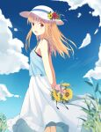 1girl :d arms_behind_back bangs bare_arms blonde_hair blue_dress blue_sky blurry bouquet commentary day depth_of_field dress eyebrows_visible_through_hair flower grass hair_blowing hair_ornament hairclip hat hat_flower hat_ribbon highres holding holding_bouquet layered_dress looking_at_viewer mio_kure open_mouth orange_hair original outdoors red_eyes ribbon sky smile solo standing sun_hat sundress sunflower twintails white_dress