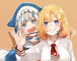 2girls biting blonde_hair blue_eyes blue_hair food gawr_gura grin hair_ornament highres hololive hololive_english hood hood_up hoodie kase_(kurimuzone_oruta) medium_hair monocle_hair_ornament motion_blur multicolored_hair multiple_girls necktie pocky pocky_day sharp_teeth silver_hair smile sparkling_eyes teeth two-tone_hair upper_body virtual_youtuber watson_amelia
