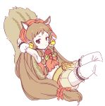 1girl animal_ears armpits arms_behind_head bell belt brown_hair detached_sleeves kouka_(mrakano5456) long_hair princess_connect! princess_connect!_re:dive reclining redhead rin_(princess_connect!) shorts simple_background solo squirrel_ears squirrel_tail tail thigh-highs twintails violet_eyes white_background