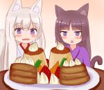 2girls :< absurdres animal_ear_fluff animal_ears bangs black_hair blush cat_ears cat_girl cat_tail commentary_request drooling eyebrows_visible_through_hair food fox_ears fox_girl fox_tail fruit hair_between_eyes highres iroha_(iroha_matsurika) japanese_clothes kimono long_hair mouth_drool multiple_girls open_mouth original pancake plate pudding purple_kimono silver_hair stack_of_pancakes strawberry tail tail_raised triangle_mouth violet_eyes whipped_cream white_kimono