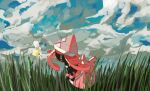 apios1 blue_eyes clouds cloudy_sky cutiefly day floating gen_7_pokemon grass highres legendary_pokemon looking_at_another no_humans outdoors pink_hair pokemon pokemon_(creature) profile sky tapu_lele wings