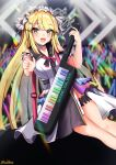 1girl absurdres bangs bare_shoulders bell blonde_hair blush bow breasts choker dress eyebrows_visible_through_hair frills glowstick green_eyes hair_between_eyes hair_ornament headband highres holding holding_instrument instrument keytar kougei_ciel_nana long_hair looking_at_viewer medium_breasts multicolored multicolored_eyes open_mouth ribbon sleeveless sleeveless_dress solo sound_voltex stage strap tagme thigh_strap tunamogumogu white_dress
