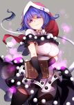 1girl absurdres bangs black_gloves black_legwear book breasts closed_mouth doremy_sweet dress eyebrows_visible_through_hair gloves grey_background hat highres holding holding_book large_breasts light_particles long_hair looking_at_viewer nightcap pom_pom_(clothes) purple_hair raptor7 red_headwear simple_background solo tail tapir_tail touhou violet_eyes white_dress
