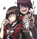 1boy 1girl :d anger_vein bangs bespectacled black_hair black_sailor_collar blue-framed_eyewear blunt_bangs bow brown_hair collarbone collared_shirt criis-chan danganronpa facial_hair frown glasses goatee grey_background grey_shirt hair_ornament hair_scrunchie hand_on_another's_shoulder harukawa_maki jacket long_hair long_sleeves looking_at_viewer low_twintails mole mole_under_eye momota_kaito new_danganronpa_v3 open_mouth purple_jacket red-framed_eyewear red_scrunchie red_shirt sailor_collar school_uniform scrunchie semi-rimless_eyewear serafuku shirt simple_background sleeves_past_elbows smile sparkle spiky_hair sweatdrop twintails under-rim_eyewear upper_body upper_teeth v white_bow