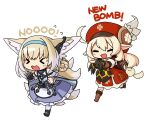 >_< 1other 2girls ahoge animal_ears arknights blonde_hair check_commentary closed_eyes commentary_request crossover english_text fleeing fox_ears fox_tail genshin_impact hat highres kitsune klee_(genshin_impact) korean_commentary multiple_girls multiple_tails originium_slug_(arknights) pointy_ears ran_system running suzuran_(arknights) tail