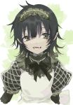 1boy apron bangs black_hair eyebrows_visible_through_hair fangs frilled_apron frills green_eyes hair_between_eyes highres kayanogura looking_at_viewer male_focus open_mouth original pointy_ears puffy_short_sleeves puffy_sleeves short_sleeves solo upper_body white_apron