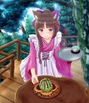 1girl absurdres animal_ear_fluff animal_ears bangs black_hair blue_eyes blush bow braid cat_ears closed_mouth commentary_request day eyebrows_visible_through_hair flower food green_tea hair_bow hair_bun hair_flower hair_ornament highres holding holding_tray iroha_(iroha_matsurika) japanese_clothes kimono long_hair long_sleeves original outdoors pink_kimono purple_bow purple_flower railing single_braid smile solo tea tray tree very_long_hair wa_maid wide_sleeves