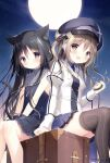 2girls :d animal_ear_fluff animal_ears black_dress black_eyes black_hair blue_skirt blush breasts brown_eyes brown_hair brown_legwear cat_ears cat_girl cat_tail closed_mouth collared_dress commentary_request dress feet_out_of_frame frilled_shirt_collar frills full_moon holding hoshizora_tetsudou_to_shiro_no_tabi jacket juliet_sleeves karuha_(hoshishiro) long_hair long_sleeves moon multiple_girls night night_sky noir_(hoshishiro) open_mouth outdoors pleated_skirt pocket_watch puffy_sleeves shiratama_(shiratamaco) sitting skirt sky sleeveless sleeveless_dress small_breasts smile star_(sky) starry_sky striped striped_legwear suitcase tail thigh-highs vertical-striped_legwear vertical_stripes very_long_hair watch white_jacket