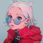 1girl aburage_(motimotigg20) coat double_bun grey_background halo highres looking_at_viewer multiple_halos original parted_lips portrait red_coat short_hair signature simple_background solo tinted_eyewear violet_eyes white_hair