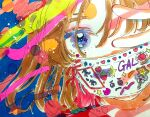 1girl abstract bangs blue_eyes brown_hair cyon_(gyarasu) food fruit heart looking_at_viewer marker_(medium) mask medium_hair mouth_mask original portrait print_mask solo strawberry traditional_media v