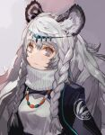 1girl animal_ear_fluff animal_ears arknights bead_necklace beads black_cloak braid breasts circlet cloak closed_mouth commentary dated dress grey_background grey_eyes highres jewelry leopard_ears long_hair looking_at_viewer medium_breasts necklace pramanix_(arknights) side_braids signature silver_hair simple_background solo spotted_fur toujou_bun turtleneck twin_braids upper_body white_dress