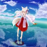 1girl absurdres animal_ears bangs barefoot blue_sky blush brown_footwear clouds commentary_request day eyebrows_visible_through_hair flower folded_ponytail fox_ears fox_girl fox_tail hair_between_eyes hair_flower hair_ornament hakama highres holding holding_clothes holding_footwear iroha_(iroha_matsurika) japanese_clothes kimono long_hair long_sleeves looking_away looking_down miko original outdoors parted_lips purple_flower red_hakama reflection ripples silver_hair sky solo standing tail very_long_hair violet_eyes water white_kimono wide_sleeves zouri