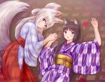 2girls :< :3 absurdres animal_ears bangs black_hair blue_eyes blush cat_ears closed_mouth commentary_request eyebrows_visible_through_hair flower folded_ponytail fox_ears fox_girl fox_tail hair_between_eyes hakama highres iroha_(iroha_matsurika) japanese_clothes kimono long_hair long_sleeves looking_at_viewer lying miko multiple_girls obi on_back open_mouth original petals purple_kimono red_flower red_hakama sash silver_hair tail tail_raised triangle_mouth very_long_hair violet_eyes white_kimono wide_sleeves yagasuri