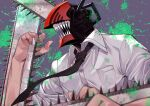 1boy absurdres arm_up black_neckwear chainsaw chainsaw_man collared_shirt denji_(chainsaw_man) dress_shirt grey_background highres huge_filesize kamekiti looking_away male_focus monster_boy necktie open_mouth paint_splatter sharp_teeth shirt sleeves_rolled_up solo teeth upper_body white_shirt