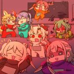 6+girls :3 :d ^_^ ahoge among_us anger_vein animal_ears aqua_gloves bangs bell beret black_gloves blonde_hair blue_hair blush braid bright_pupils brown_hair claw_pose closed_eyes commentary_request cosplay crewmate_(among_us) crewmate_(among_us)_(cosplay) crossed_arms double_bun dual_wielding earrings empty_eyes eyebrows_visible_through_hair fang fox_ears fox_tail gloves green_eyes green_gloves green_hair grey_hair hair_between_eyes hair_ornament hat highres holding holding_knife hololive horns hoshimachi_suisei indoors jewelry knife lion_ears lion_girl long_hair looking_at_viewer medium_hair midair motion_blur multicolored_hair multiple_girls nakiri_ayame natsuiro_matsuri omaru_polka oni oni_horns oni_mask open_mouth orange_gloves parted_bangs pink_hair pointing pointing_at_viewer purple_gloves raised_eyebrows red_eyes red_gloves redhead shaded_face shirogane_noel shishiro_botan short_hair side_ponytail sidelocks silver_hair skull skull_hair_ornament smile space_station streaked_hair swirl tagme tail uruha_rushia violet_eyes virtual_youtuber wakatsuki_misato weapon white_gloves white_hair white_pupils