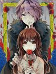 1boy 1girl blue_flower blue_rose brown_hair closed_mouth coat collared_shirt finger_to_mouth flower frame fur-trimmed_coat fur_trim garry_(ib) hair_over_one_eye hand_on_another's_shoulder holding holding_flower ib ib_(ib) long_hair painting_(object) plant purple_hair red_eyes red_flower red_neckwear red_rose rose shirt short_hair smile thorns vines violet_eyes wonoco0916