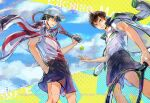 2boys baby_steps ball bangs baseball_cap black_hair brown_eyes brown_hair character_name closed_mouth clouds cloudy_sky collared_shirt commentary cowboy_shot crossover day deviantart_username echizen_ryooma english_commentary from_below green_eyes hair_between_eyes hand_in_pocket hat highres holding holding_racket instagram_username jacket jacket_on_shoulders male_focus maruo_eiichirou multicolored multicolored_background multiple_boys parted_lips purple_shorts racket shirt short_sleeves shorts signature sky smile sportswear standing tennis_ball tennis_no_ouji-sama tennis_racket tennis_uniform trait_connection watermark web_address white_headwear white_shirt zzyzzyy