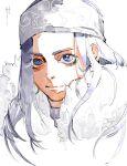 1girl absurdres ainu ainu_clothes apostle2408 asirpa bandana blue_eyes blue_hair cape earrings eyebrows face fur_cape golden_kamuy highres hoop_earrings jewelry light long_hair portrait solo