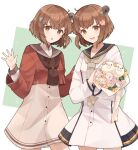 2girls :d blue_sailor_collar bouquet brown_eyes brown_hair brown_neckwear brown_sailor_collar buttons cowboy_shot dress dual_persona eyebrows_visible_through_hair flower grey_neckwear hair_ornament hat hat_flower holding holding_bouquet kantai_collection long_sleeves multiple_girls open_mouth pink_flower red_shirt remodel_(kantai_collection) rose sailor_collar sailor_dress sailor_shirt shakemi_(sake_mgmgmg) shirt short_hair smile tan_yang_(kantai_collection) white_dress white_flower white_rose yukikaze_(kantai_collection)