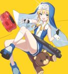 1boy bike_shorts black_gloves blonde_hair blue_eyes blue_footwear boots bridget_(guilty_gear) cross fingerless_gloves gloves guilty_gear gukurosawa01 habit long_hair looking_at_viewer male_focus nun otoko_no_ko simple_background smile socks solo white_legwear yellow_background yo-yo