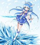 1girl aoki_reika bike_shorts blue_background blue_bow blue_eyes blue_hair blue_shorts blue_skirt blue_theme boots bow bowtie brooch closed_mouth crystal_sword cure_beauty full_body hair_tubes highres ice jewelry knee_boots long_hair looking_at_viewer magical_girl precure shorts shorts_under_skirt sidelocks skirt smile smile_precure! solo standing sword uraki weapon white_footwear wrist_cuffs