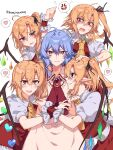 5girls :d ahoge anger_vein ascot bangs black_ribbon blonde_hair blouse blue_hair blush collar collared_blouse commentary_request crying crystal droplet earrings empty_eyes eyebrows_visible_through_hair fang flandre_scarlet four_of_a_kind_(touhou) frilled_blouse frilled_collar frills fume gem grin hair_between_eyes hair_ribbon hand_on_another's_head heart highres himadera jewelry looking_at_another looking_at_viewer messy_hair multiple_girls nail_polish open_mouth pink_blouse pink_skirt pointy_ears puffy_short_sleeves puffy_sleeves red_eyes red_nails red_neckwear red_skirt red_vest remilia_scarlet ribbon sharp_teeth shirt short_hair short_sleeves side_ponytail simple_background skin_fang skirt slit_pupils smile speech_bubble spoken_anger_vein spoken_heart sweatdrop tears teeth touhou tsurime twitter_username vest white_background white_shirt wing_collar wings wrist_cuffs yellow_neckwear