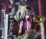 1girl bangs blue_hair blunt_bangs closed_eyes giantess long_hair machine original skull solo stairs teeth toy(e) upper_body yuugai_choujuu