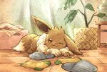 brown_eyes brown_fur closed_mouth commentary_request eevee gen_1_pokemon indoors looking_at_viewer lying matsuri_(matsuike) no_humans on_stomach one_eye_closed paws plant pokemon pokemon_(creature) potted_plant slippers slippers_removed smile socks socks_removed solo