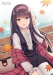 1girl :d autumn_leaves bench black_dress black_hair blush book center_frills character_request collared_shirt commentary_request dress frills fringe_trim hairband hand_up hitsuki_rei leaf long_hair long_sleeves looking_at_viewer maple_leaf on_bench open_book open_mouth park_bench plaid purple_hairband shawl shirt sitting sitting_on_bench sleeveless sleeveless_dress sleeves_past_wrists smile snowdreams_-lost_in_winter- solo sparkle very_long_hair violet_eyes white_shirt