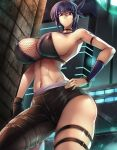 1girl absurdres arm_strap asymmetrical_legwear ayane_(doa) bangs black_choker black_gloves breasts choker city covered_nipples dead_or_alive eyebrows_visible_through_hair from_below gloves haganef hand_on_hip highres large_breasts looking_down navel parted_lips purple_hair red_eyes single_glove solo thigh_strap toned under_boob