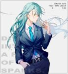 1girl aqua_hair bang_dream! character_name cigarette floating_hair formal from_side green_eyes grey_background highres hikawa_sayo lighter long_hair solo suit walluka
