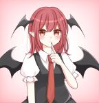 1girl bat_wings black_skirt black_vest blush breasts closed_mouth collared_shirt diamond-shaped_pupils diamond_(shape) eyebrows_visible_through_hair finger_to_mouth gradient gradient_background head_wings highres koakuma long_hair looking_at_viewer medium_breasts necktie pink_background piyoru_nico pointy_ears puffy_short_sleeves puffy_sleeves red_eyes red_neckwear redhead shirt short_sleeves simple_background skirt solo symbol-shaped_pupils symbol_commentary touhou vest white_shirt wings