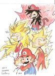 1boy aura black_eyes black_hair blonde_hair brown_hair dragon_ball dragon_ball_gt dragon_ball_z facial_hair fire gloves long_hair long_sleeves looking_at_viewer male_focus mario mario_(series) masterdm90 monkey_tail multiple_views mustache orange_shirt overalls red_headwear red_shirt shirt short_hair super_saiyan super_saiyan_3 super_saiyan_4 tail white_background white_gloves yellow_eyes