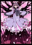 1girl black_border blue_kimono border breasts cherry_blossoms commentary_request floating highres japanese_clothes kimono long_sleeves looking_at_viewer mashuu_masaki medium_breasts open_mouth perfect_cherry_blossom petals pink_eyes pink_hair saigyou_ayakashi saigyouji_yuyuko solo sotoba touhou tree triangular_headpiece wide_sleeves