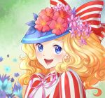 1girl :d blonde_hair blue_eyes blue_headwear bow candice_white_ardlay candy_candy day derivative_work flower green_background hat hat_bow hat_flower highres kaminary long_hair looking_at_viewer open_mouth outdoors pink_ribbon red_bow ribbon screencap_redraw shirt simple_background smile striped striped_bow striped_shirt
