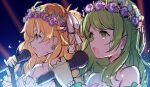 2girls :d bangs bare_shoulders blue_eyes blue_flower bow brown_hair collarbone commentary_request earrings flower flower_earrings flower_wreath gloves green_eyes green_hair hair_bow head_wreath holding holding_microphone jewelry long_hair meito_(maze) microphone morinaka_kazaki multiple_girls nijisanji open_mouth otogibara_era pink_flower purple_flower sketch smile upper_body virtual_youtuber white_bow white_gloves