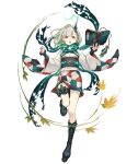1girl :o book boots cross-laced_footwear full_body green_hair horns japanese_clothes ji_no kimono leaf little_match_girl_(sinoalice) looking_at_viewer maple_leaf official_art platform_footwear red_eyes sash scarf short_kimono single_horn sinoalice solo thigh_strap transparent_background wide_sleeves