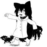1girl absurdres ai_(yozakura_family) animal_ears boots collar dog dog_collar dog_ears dog_tail fox_ears fox_girl fox_tail greyscale highres md5_mismatch monochrome tail wakiyaa white_background yozakura-san_chi_no_daisakusen