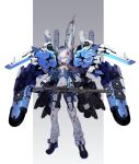 1girl black_gloves blue_hair ex-s_gundam eyebrows_visible_through_hair gloves green_eyes gun gundam gundam_sentinel hair_ornament headset highres looking_at_viewer nakamura_eight open_hands open_mouth personification pointy_ears rifle short_hair sniper_rifle sniper_scope solo strap v-shaped_eyebrows vernier_thrusters weapon
