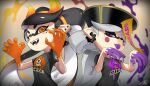 +_+ 2girls :p alternate_eye_color alternate_headwear aori_(splatoon) artist_name bangs black_hair black_headwear black_shirt blurry blurry_background claw_pose commentary cousins depth_of_field domino_mask earrings english_commentary fake_horns fangs frown gradient_hair grey_hair half-closed_eyes halloween halloween_costume hat horns hotaru_(splatoon) inkling_(language) jewelry jiangshi_costume long_hair looking_at_viewer mask medium_hair mole mole_under_eye multicolored_hair multiple_girls ofuda open_mouth orange_eyes orange_hair orange_horns outstretched_arms paint_splatter pointy_ears print_shirt puchiman purple_tongue qing_guanmao shirt short_sleeves side-by-side signature smile splatoon_(series) splatoon_2 stud_earrings swept_bangs t-shirt tentacle_hair tied_hair tongue tongue_out very_long_hair violet_eyes zombie_pose
