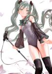 1girl black_legwear blue_eyes blue_hair commentary detached_sleeves expressionless fkey flying_paper hair_ornament hatsune_miku head_tilt highres holding holding_microphone_stand leotard looking_at_viewer microphone microphone_stand paper ribbon see-through_sleeves simple_background solo tattoo thigh-highs twintails vocaloid