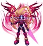 1boy android armor aura blonde_hair bodysuit boss energy_blade energy_sword evil evil_eyes evil_grin evil_smile floating_hair forehead_jewel gem gloves glowing grin hair_flowing_over helmet highres holding holding_sword holding_weapon long_hair looking_at_viewer male_focus mizuno_keisuke official_art omega_(rockman) red_eyes robot rockman rockman_x_dive rockman_zero smile solo sword third-party_source transparent_background very_long_hair weapon