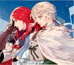 2boys bedivere brown_gloves cape closed_eyes closed_mouth fate/grand_order fate_(series) fur_trim gloves green_eyes long_hair multiple_boys redhead silver_hair tristan_(fate/grand_order) yepnean
