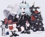 1girl animal_hood black_choker black_hoodie black_horns blue_hair blue_legwear blush bow choker fang fingernails frilled_choker frills grey_background grey_footwear hat highres hood hood_down hoodie horns jikuno large_hat light_blue_hair light_blush medium_hair open_mouth original paw_print red_bow signature simple_background sitting sleeves_past_fingers sleeves_past_wrists smile socks solo stuffed_animal stuffed_toy tongue violet_eyes white_headwear witch_hat x yarn yarn_ball