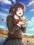 1girl autumn autumn_leaves black_hair black_shirt black_skirt bow clouds creatrail day eating food highres holding holding_food leaf long_sleeves maple_leaf mountainous_horizon open_mouth original outdoors red_bow shirt short_hair skirt solo standing sweater sweet_potato yakiimo
