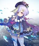1girl :o bead_necklace beads braid braided_ponytail dress genshin_impact hair_ornament half-closed_eyes highres jewelry jiangshi long_sleeves necklace nemeneko_6 open_mouth pink_eyes qiqi shorts solo thigh-highs white_legwear wide_sleeves