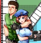1boy 1girl arm_around_neck arm_under_breasts beret black_gloves blue_eyes blue_headwear blue_shirt blush breasts brown_hair chris_redfield clapperboard closed_mouth commentary_request english_text eyebrows_visible_through_hair film_strip fingerless_gloves gloves green_vest hand_in_pocket hand_on_another's_arm hat holding jill_valentine large_breasts looking_at_another multicolored multicolored_background nagare open_mouth resident_evil shirt short_hair smile standing thumbs_up upper_body vest white_shirt