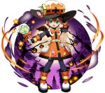 1girl aile bangs bat bodystocking bodysuit brown_hair candy dress food gloves green_eyes hair_between_eyes halloween halloween_costume hat highres jack-o'-lantern looking_at_viewer mizuno_keisuke official_art open_mouth robot_ears rockman rockman_x_dive rockman_zx short_hair skin_tight smile solo spandex third-party_source transparent_background tree wings witch_hat
